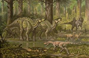 Фотографии Древние животные Динозавры Рисованные Barremian fauna