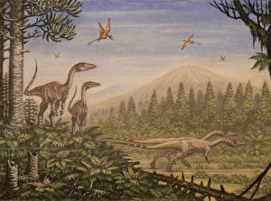 Картинка Древние животные Динозавры Рисованные Coelophysis, Peteinosaurus