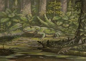 Фото Древние животные Динозавры Рисованные Ophiacodon