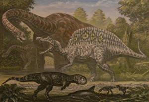 Картинки Древние животные Динозавры Рисованные Paralititan, Spinosaurus, Rugops