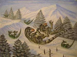Фото Древние животные Динозавры Рисованные Raptor