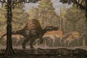 Картинка Древние животные Динозавры Рисованные Spinosaurus, Ouranosaurus
