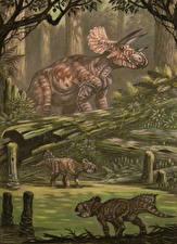Картинки Древние животные Динозавры Рисованные Triceratops horribus, Leptoceratops gracilis
