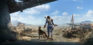 Фотография Конец света Fallout 4 Воины Сзади Овчарка Patrol, Female Игры