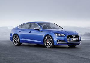Картинки Audi Синий 2018 A5 S5 Автомобили