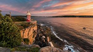 Фотографии Австралия Берег Рассветы и закаты Маяки Камень Утес Port Stephen Природа