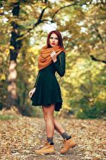 Фотографии Осенние Платье Шарф
