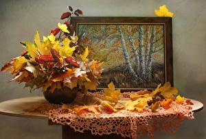 Фотография Осенние Картина Стол Ваза Листва Природа