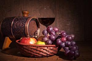 Фотография Бочка Вино Виноград Яблоки Доски Бокалы