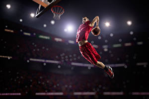 Обои Баскетбол Мужчины Прыжок Мячик Спорт
