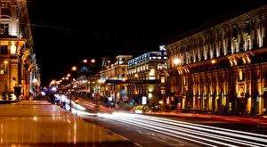Фотография Беларусь Здания Дороги Улица Ночные Уличные фонари Едущий Minsk Города