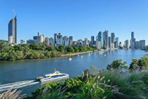 Фотографии Брисбен Австралия Дома Речка Речные суда Города
