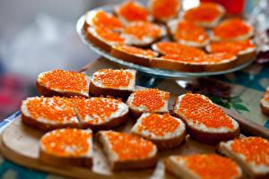 Картинка Бутерброды Хлеб Морепродукты Икра