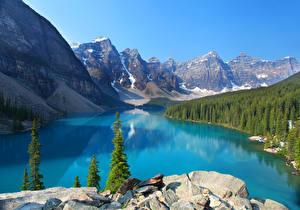 Фото Канада Парки Горы Озеро Леса Пейзаж Банф Ель