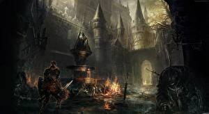 Обои Замки Воины Dark Souls III Доспехи Мечи Мертвый труп компьютерная игра Фэнтези