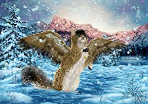 Картинки Коты Волшебные животные Крылья Снег Снежинки Фантастика