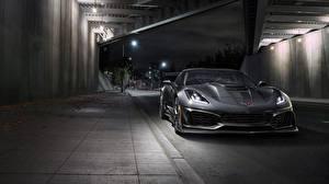 Фотография Шевроле Спереди Серый Corvette 2019 ZR1