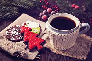 Картинки Рождество Кофе Печенье Чашка Дизайн Новогодняя ёлка Пища