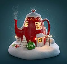 Обои Новый год Креатив Чайник Шар Снег Пар 3D Графика