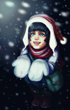 Обои Рождество Рисованные Снежинки Радость Варежках Шапки Девочка Девушки
