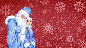 Обои Новый год Санта-Клаус Снежинки Красный фон