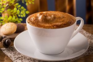 Фото Кофе Капучино Вблизи Чашка Пена Блюдце Пища
