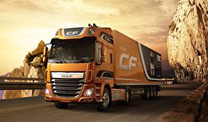 Картинки Грузовики DAF Trucks Оранжевый 4х2 Euro 6 CF 460 FT Space Cab Автомобили
