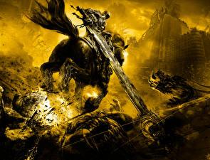Картинки Darksiders Лошади Нечисть Мечи Бег Игры