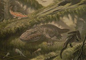 Фотографии Динозавры Рисованные Подводные Древние животные Eryops