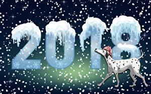 Фотографии Собаки Рождество 2018 Далматинец Снежинки
