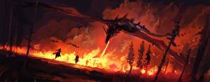 Фото Драконы Огонь Воины Ночь Фантастика