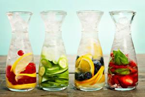 Фотография Напитки Фрукты Бутылка Лед Продукты питания