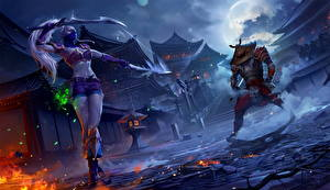 Фотографии Эльфы Воители Ночь Ниндзя Juggernaut Wars Archives Игры Девушки
