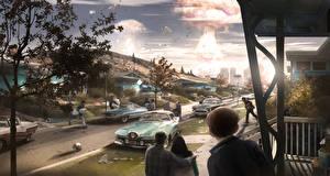 Фотография Взрывы Люди Конец света Fallout 4 Улице Игры Фэнтези