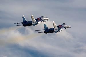 Обои Самолеты Истребители Су-30 Русские Две Летит SM