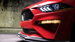 Обои Ford Крупным планом Красный Фары Mustang GT2018 Level 2 Performance Pack Автомобили