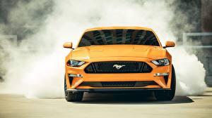 Обои Форд Спереди Желтая Fastback Sports Mustang GT 2018 авто