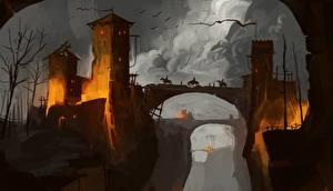Картинки Крепость Воители Мосты Фантастика