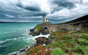 Фотография Франция Берег Маяки Небо Phare du Petit Minou Природа
