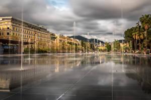 Фото Франция Здания Фонтаны Улица Nice