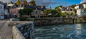 Фотография Франция Дома Реки Улица Auray Brittany