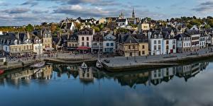 Картинки Франция Здания Речка Причалы Auray Brittany