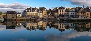 Обои Франция Здания Реки Пристань Речные суда Отражение Auray Brittany Города