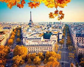 Картинка Франция Здания Дороги Осенние Париж Улица Города