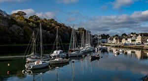 Обои Франция Здания Парусные Катера Залив Auray Brittany