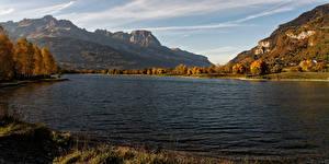 Картинка Франция Речка Горы Осенние Domancy Природа