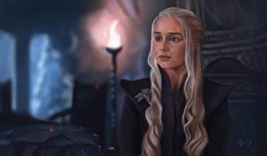 Картинки Игра престолов (телесериал) Рисованные Emilia Clarke Дейенерис Таргариен Взгляд Блондинка кино Девушки