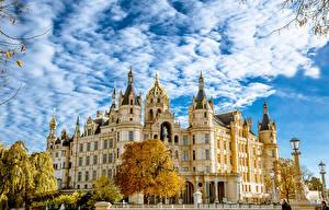 Фотографии Германия Замок Осенние Небо Schwerin Города