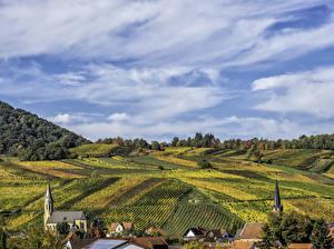 Фото Германия Поля Небо Здания Palatinate
