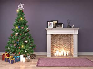 Картинки Праздники Рождество Свечи Новогодняя ёлка Подарки Электрическая гирлянда